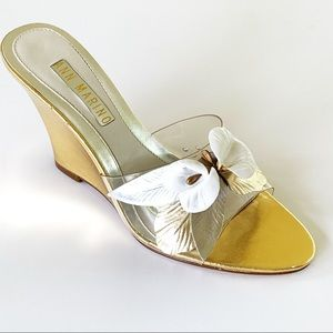 Ann Marino Gold Wedge with Leather Flowers